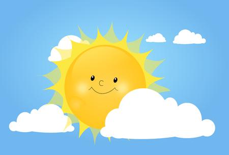 yellow hills: Illustration of cute sun hidden behind white cloud