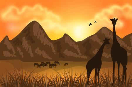 Illustration der afrikanischen Landschaft mit riesigen Gipfeln und Giraffen