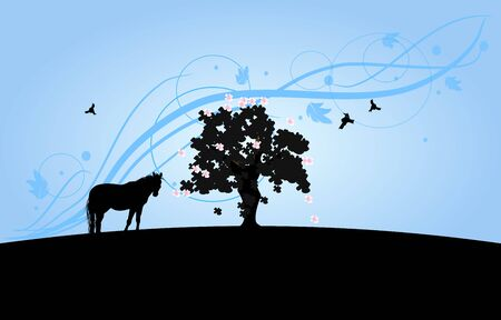 scenics: Wallpaper with horse and big tree silhouette with light blue ornaments background Stock Photo