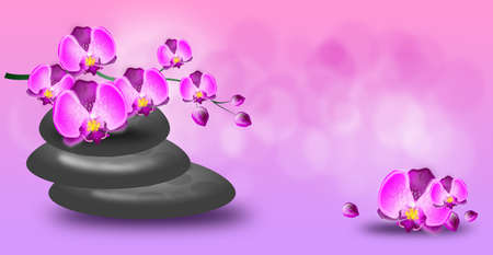 wellness background: Light pink wellness background with spa stones and orchid flowers