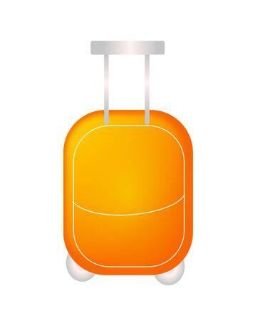 away travel: Illustration of modern suitcase on wheel in orange color