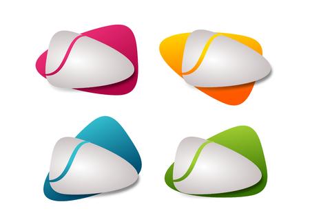 Coloridos botones de infografía en diferentes colores sobre fondo blanco