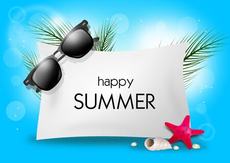 greeting season: Illustration of greeting card to happy summer with season objects Stock Photo