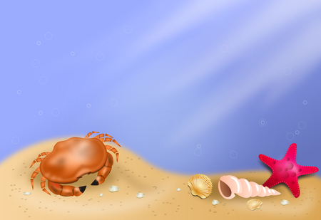 seson: Beautiful illustration of deep sea scenery with crab and seashells Stock Photo