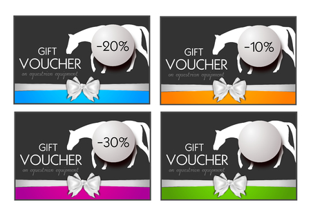 equestrian: Set of four gift vouchers on equestrian equipment