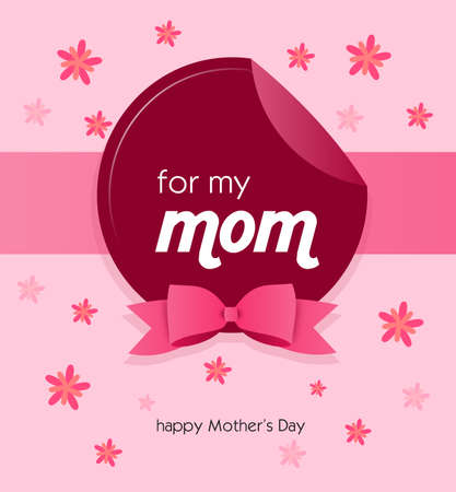 pink ribbon: Pink greeting card to happy Mothers day with pink ribbon