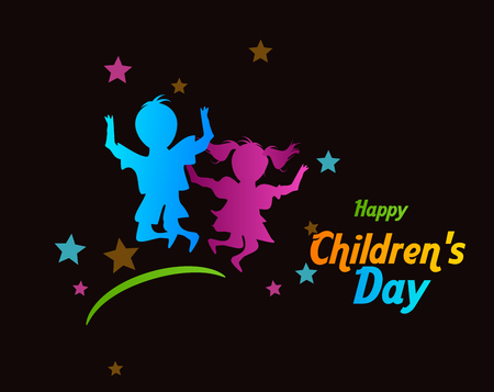 Black background with colorful children silhouette and text Happy Childrens Day Stock Photo
