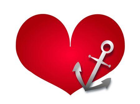 fidelidad: Ilustración de la gran corazón rojo con el símbolo de ancla Foto de archivo