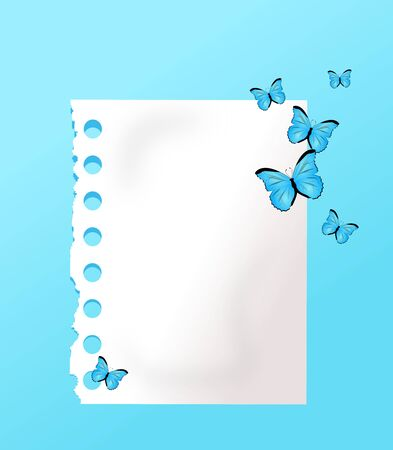 White paper sheet on light blue background decorated with blue butterflies Stock Photo