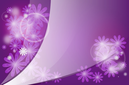 decorated: Beautiful abstract purple background decorated with flowers Stock Photo