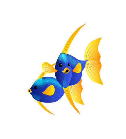 blue lagoon: Illustration of two exotic blue yellow colored fish
