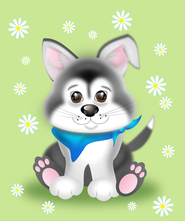 husky puppy: Illustration of cute sitting siberian husky puppy with flowers on green background
