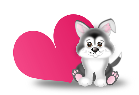 husky puppy: Illustration of cute sitting siberian husky puppy next big pink heart Stock Photo