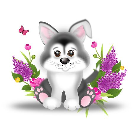 husky puppy: Illustration of cute sitting siberian husky puppy with spring flowers Stock Photo