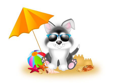 siberian: Cute illustration of siberian husky with summer decoration Stock Photo