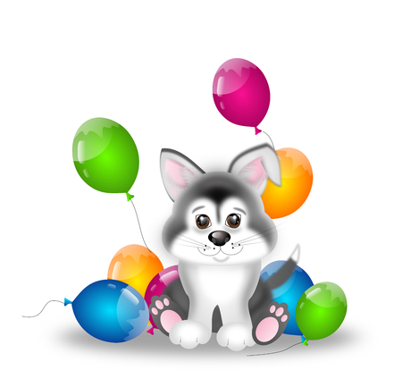 husky puppy: Cute illustration of siberian husky puppy with party balloons
