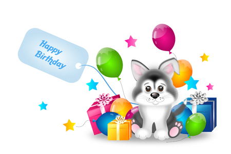 husky puppy: Cute illustration of siberian husky puppy with birthday gifts and balloons