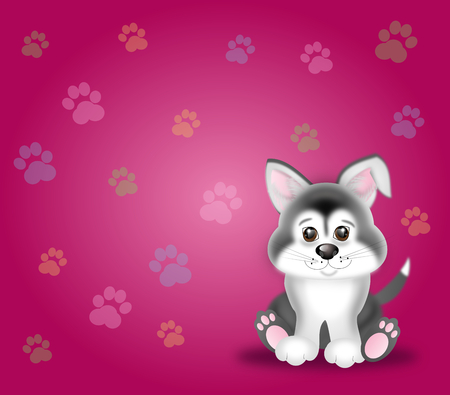tender: Cute puppy illustration on pink background with dog paws Stock Photo