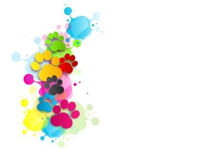 ide: Illustration of colorful dog paws on white background with blots