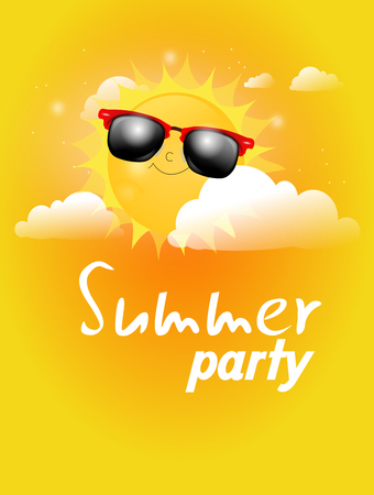 Illustration of summer sun with sunglasses between clouds with text summer party Stock Photo