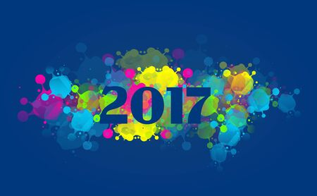 backgrounds: Greeting card to new year 2017 with colorful blots