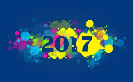 pf: Greeting card to new year 2017 with colorful blots