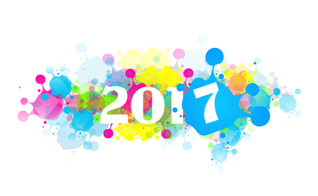 Greeting card to new year 2017 with colorful blots