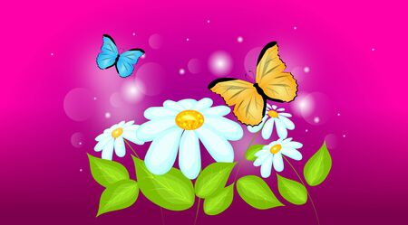 daisy pink: Pink abstract background with daisy flowers and butterflies