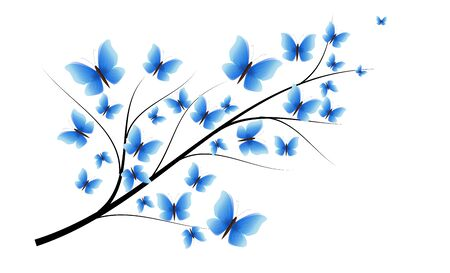 Illustration of twig decorated with blue butterflies