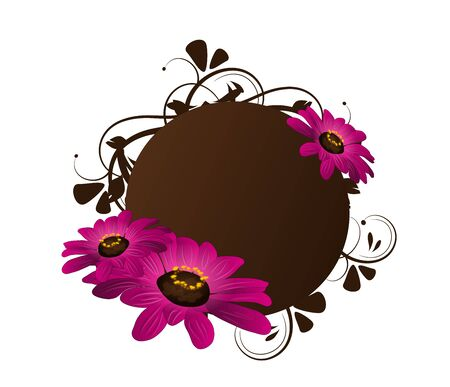 blooms: Dark brown circle decorated with floral ornaments and purple flowers blooms Stock Photo