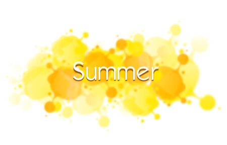 White background with yellow blots with text summer