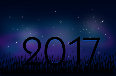 pf: Illustration of evening sky with stars and text 2017 Stock Photo