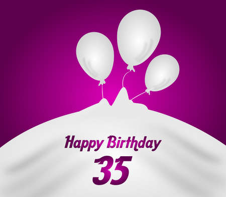 35: Anniversary pink background with white balloons illustration for 35 birthday Stock Photo