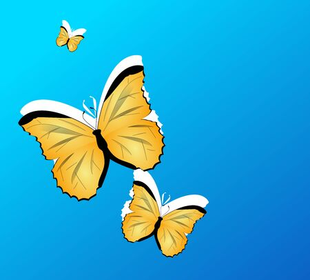 yellow butterflies: Illustration of blue background with yellow butterflies Stock Photo