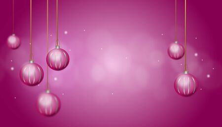 christmas bulbs: Pink purple christmas background with christmas bulbs and shining