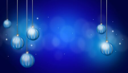 radiate: Christmas background with blue christmas bulbs and shining