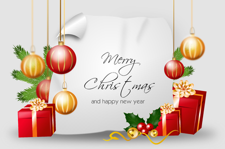 christmas bulbs: Blank christmas background with red golden gifts and christmas bulbs with text Merry Christmas and happy new year Stock Photo