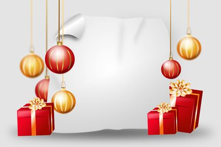 christmas bulbs: Blank christmas background with red golden gifts and christmas bulbs