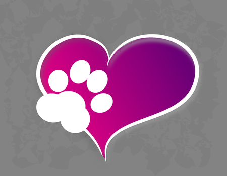 colorful heart: Illustration of colorful heart with pet paw Stock Photo