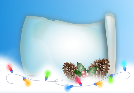 rein: Illustration of christmas parchment with christmas decoration and rein of lights
