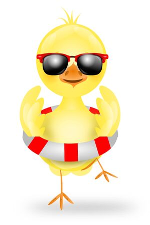 shape cub: Cute illustration of small yellow chicken with summer decoration