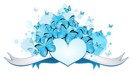Illustration of light big heart with ribbon decorated with blue butterflies Stock Photo