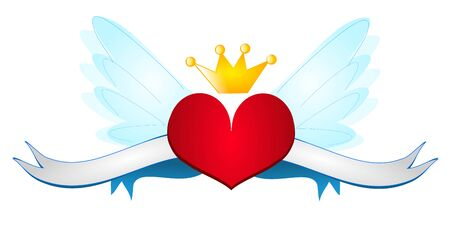 crown wings: Red heart with wings, ribbons and crown