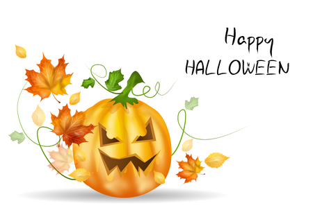 dry leaves: Realistic illustration of halloween pumpkin with autumn dry leaves and greeting happy halloween
