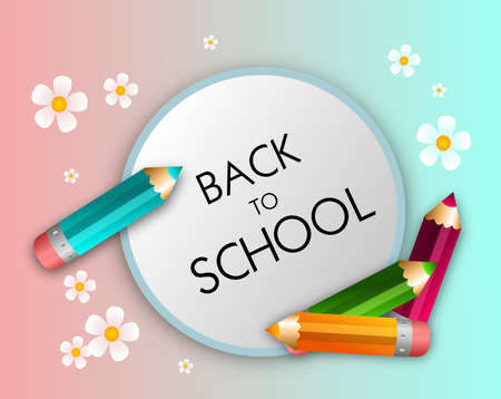 school schedule: Modern illustration of back to school schedule with pencils