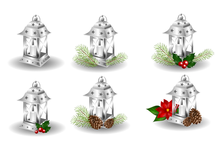 christmas candle: Illustration of set of six silver lanterns with christmas decoration