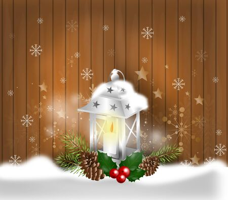 holly day: Illustration of wooden background with christmas lantern decoration Stock Photo