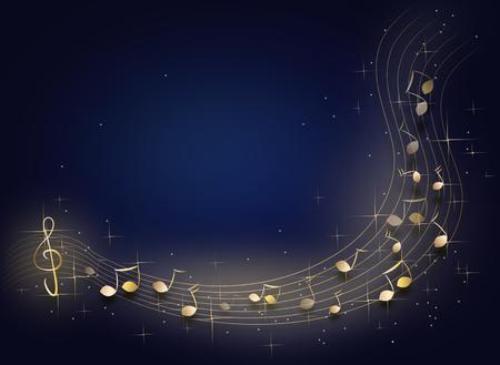 Donkerblauwe achtergrond met een glanzende gouden muziek noten