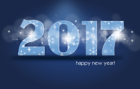 pf: Greeting card to happy new year 2017 Stock Photo
