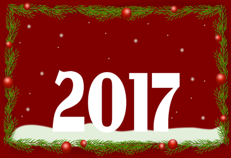 pf: Christmas greeting card with pf 2017 illustration